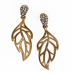 EA579: Crystal and Golden Leaf Earring