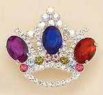 PA478: Colored Crystal Crown Pin