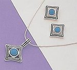 SNT54: Turquoise & Silver Earrings & Pendant Set