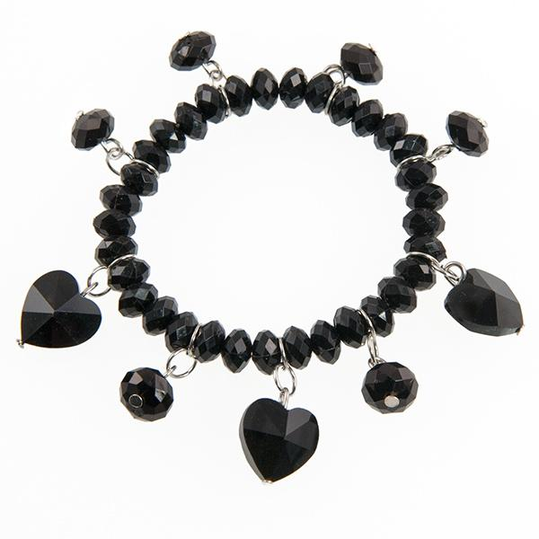SN12B :Black Crystal Heart Bracelet & Earring Set