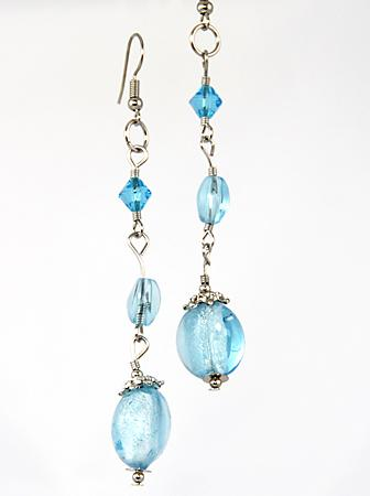 EA465: Murano Style Glass Bead Earrings