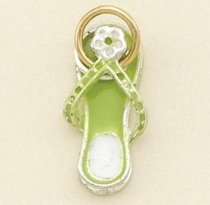 CH122GR: Beach Slipper Charm in Gold & Green