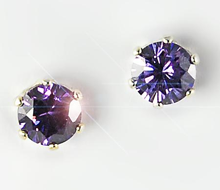 EA110A: Round Amethyst CZ Silver Post Earrings