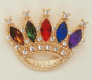 PA106: Multi-Jewel Colored Crown in 2 Sizes