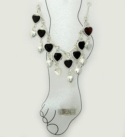 AN13: Heart Anklet Plus Toe Ring, 6 per package