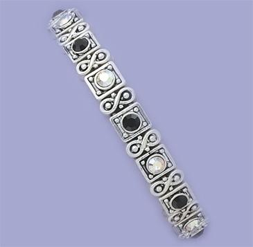 BR155BK: Black & Clear Crystal Stretch Bracelet