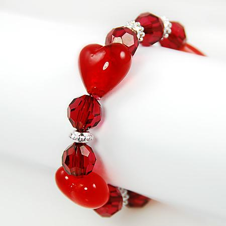 BR170R: Murano Glass Heart Bracelet in Red or Pink