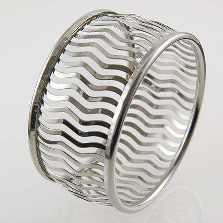 BR238: Silver Geometric Bangle Bracelet