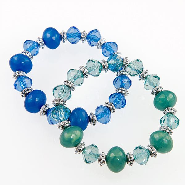 BR272B: Green or Grey Crystalite Bracelet