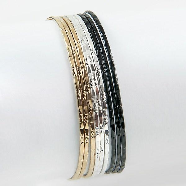 BR281: Assorted Silver, Gold and Black Bangles