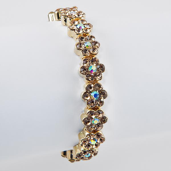 BR282BK:Amber and Diamond Floral Crystal Bracelet