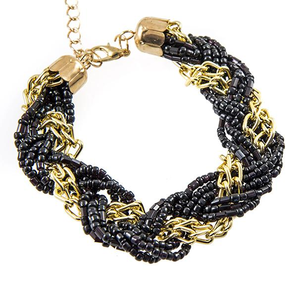 BR340: Gold and Black Seed Beaded Bracelet
