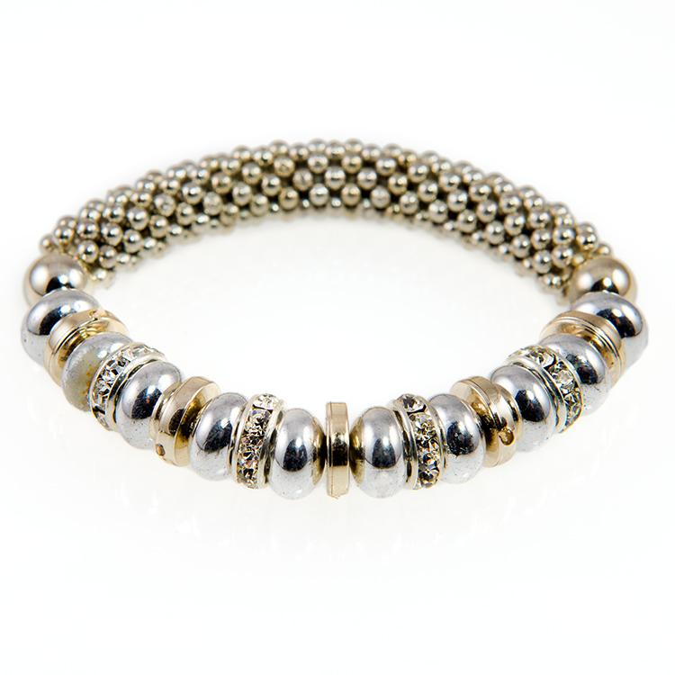 BR342: Gold and Silver Beaded Bracelet