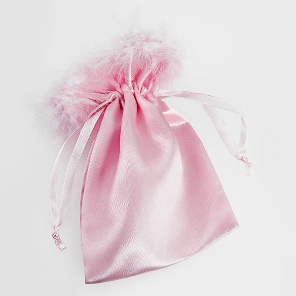 BXP023S: Pink Satin or Organza Feather Gift Pouch