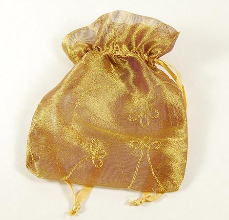 BXP036: Golden Embroidered Gift Pouch