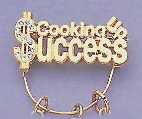 CHP112: Crystal and Gold Cooking Up Success Charm Holder Pin