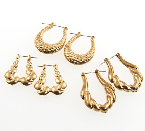 CL132: 3 Pairs of Gold Hoop Earrings