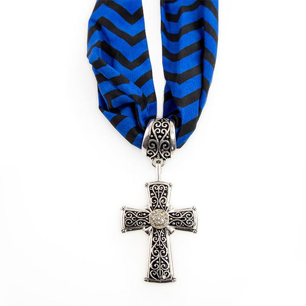 CL209: Cross Pendant on Blue Scarf or Chain Necklace