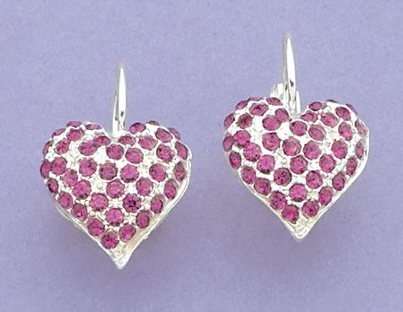EA261P: Pink Crystal Heart Earrings
