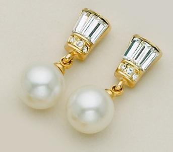 EA263: Bagette & Pearl Post Earrings