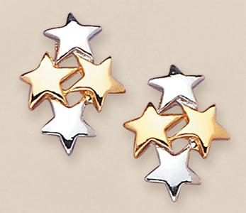EA344: 2-Tone Cluster Star Earrings