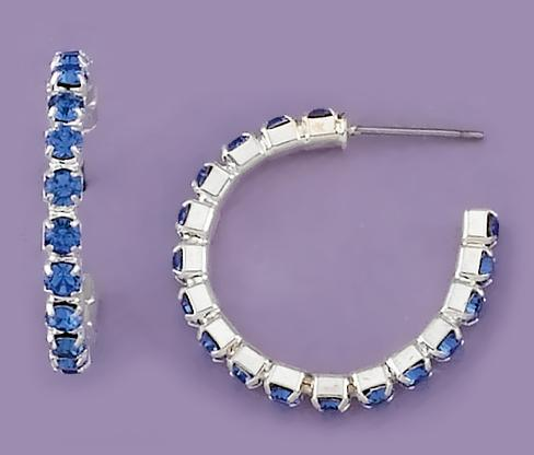 EA451: Traditional Crystal Hoop Earrings (Blue, Clear, Black )
