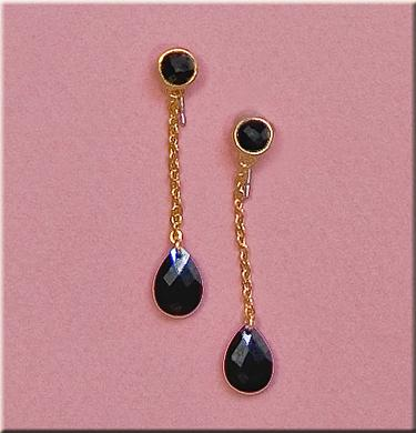 EA482B: Black Tear Drop CZ Earrings