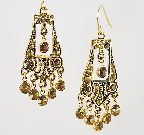 EA486T: Gold Chandelier Earrings in Dark Topaz or Black