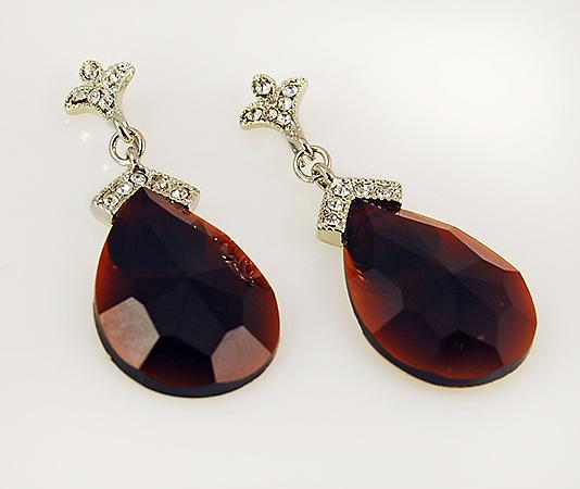 EA488: Crystal & Dark Topaz Teardrop Earrings