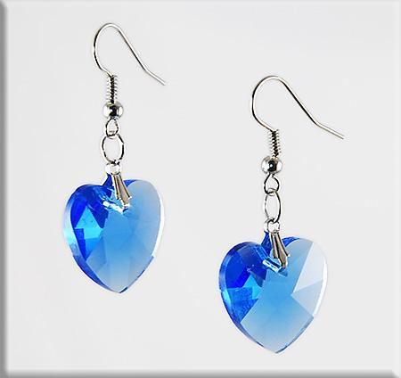 EA511: Crystal Heart Earrings (Available in 5 colors Green...)