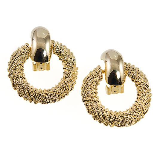 EA53:Golden Doorknocker Earrings