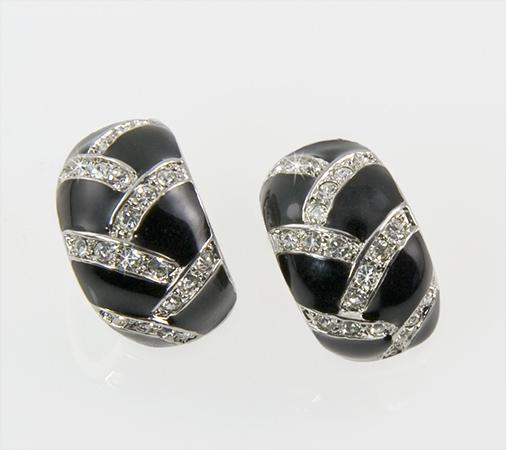 EA531: Black & Crystal Geometric Earrings