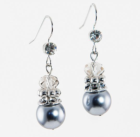 EA551:Grey Pearl Drop Earrings