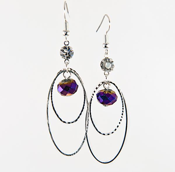 EA565: Infinity Crystal and Silver Earrings