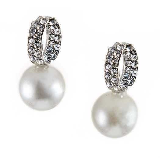 EA690: Pearl Earrings with Crystal