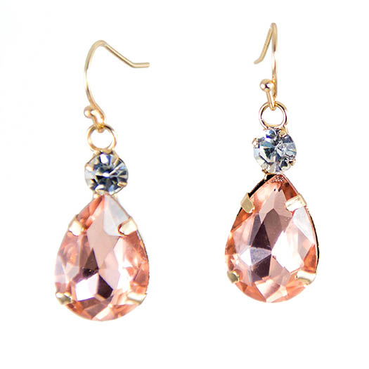 EA693:Champagne Pink Crystal Earrings