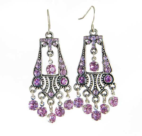 EA708PK: Pink Chandelier Earrings