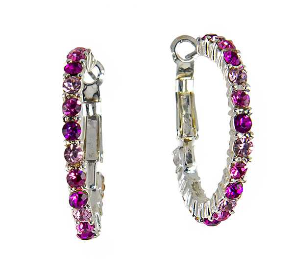 EA711PK: Elegant Pink  Crystal Hoop Earrings