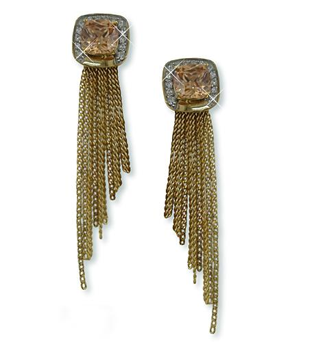 EA178G: Designer Style Amber CZ Earrings in Gold