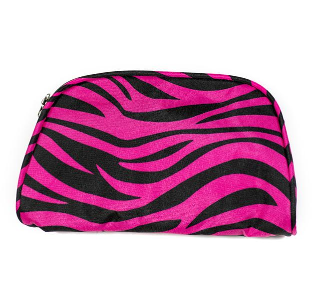 LL015F: FUSCHIA ZEBRA COSMETIC BAG