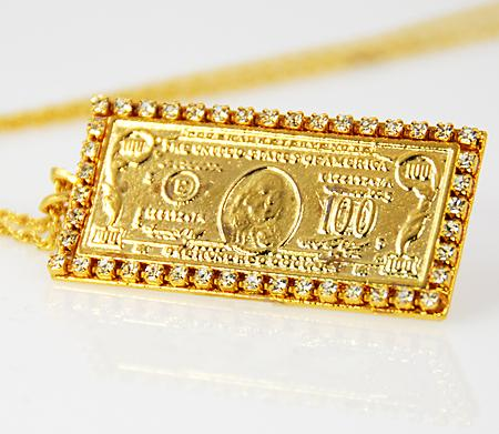 NA124: Golden $100 Bill Necklace