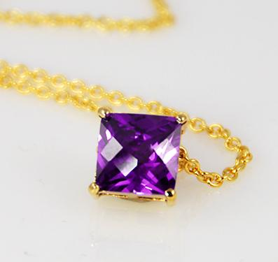 NA125: Gold or Silver Amethyst CZ Designer Necklace