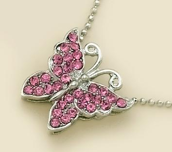 NA146P: Pink Crystal Silver Butterfly Necklace on Caviar Chain