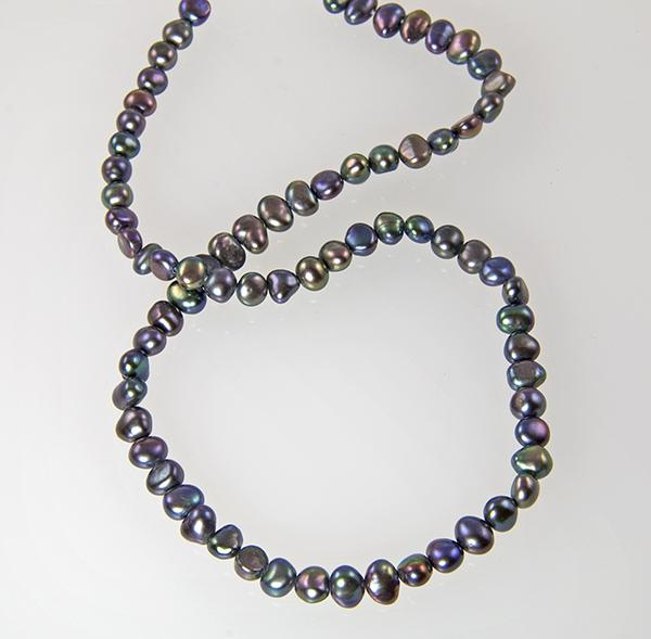 NA199: Natural Black Pearl Necklace