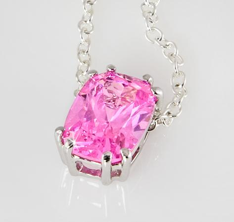 NA206: CZ Sterling Silver Pink Ice Necklace