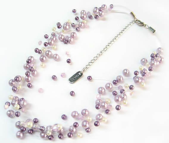 NA302: Multi Strand Pastel Pearl Necklace