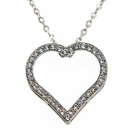 NA341:Crystal  Heart Necklace
