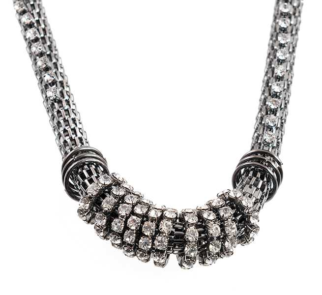 NA345: Mesh Necklace with Austrian Crystals