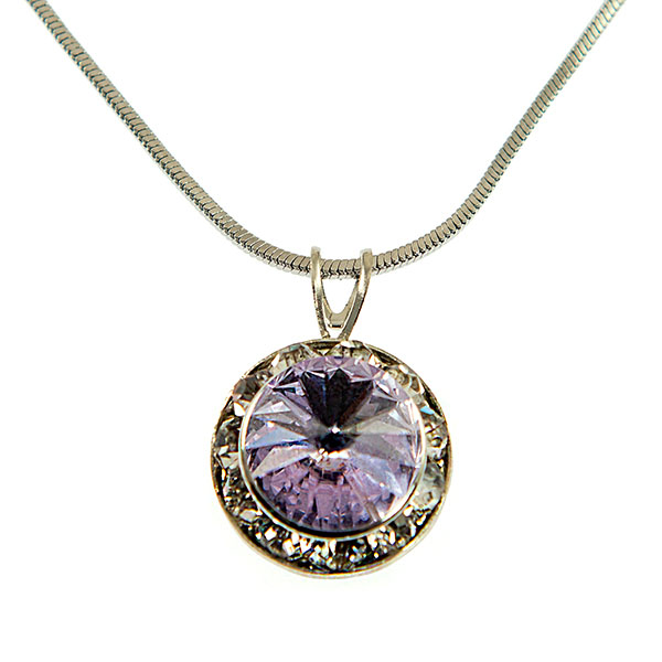 NA560: Violet Swarvoski Crystal  Necklace