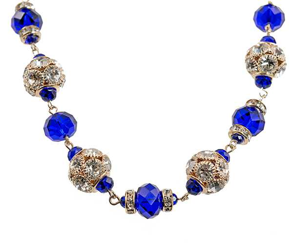 NC176:Sapphire Necklace and Earring Set